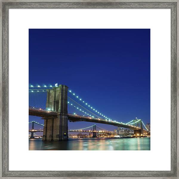 Brooklyn Bridge Evening Framed Print