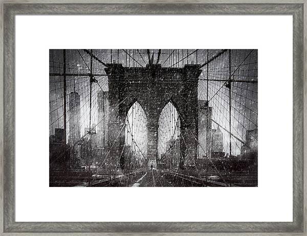 Brooklyn Bridge Snow Day Framed Print