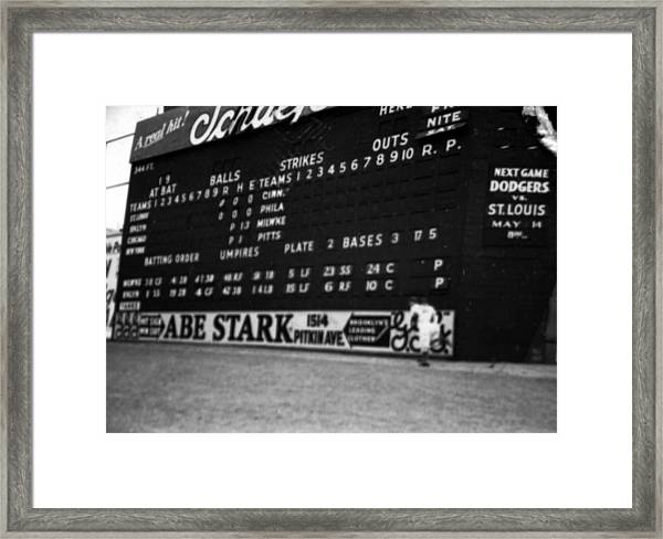 Brooklyn Scoreboard Framed Print by Retro Images Archive