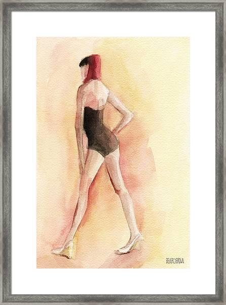 Brown Vintage Bathing Suit 1 Fashion Illustration Art Print Framed Print