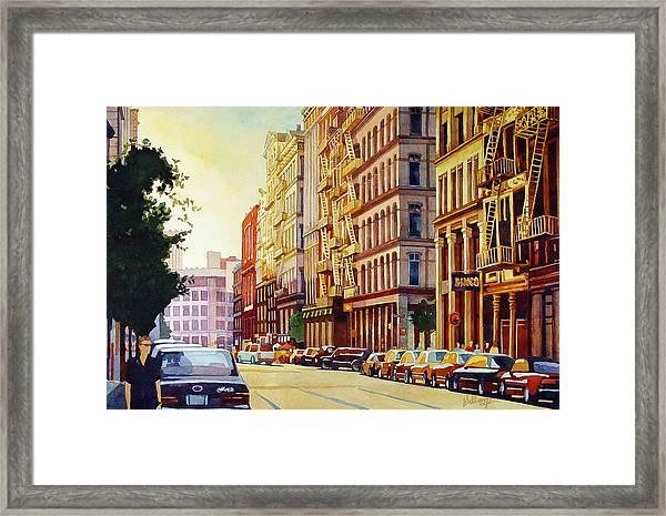 Brownstone Sunset Framed Print