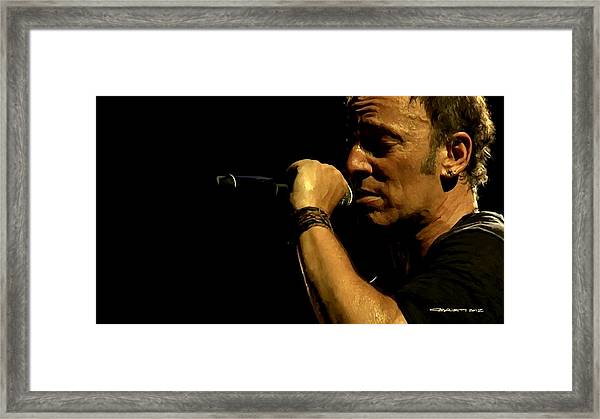 Bruce Springsteen Performing The River At Glastonbury In 2009 - 3 Framed Print