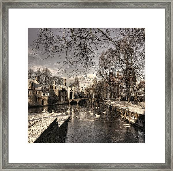 Bruges In Christmas Dress Framed Print