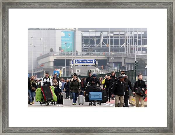 Brussels Airport And Metro Rocked By Explosions Framed Print by Sylvain Lefevre