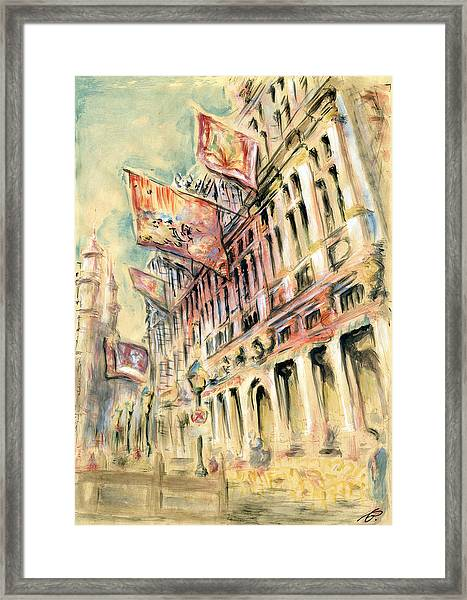 Brussels Grand Place - Watercolor Framed Print