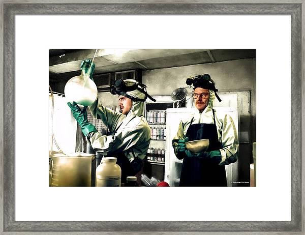 Bryan Cranston As Walter White And Aaron Paul As Jesse Pinkman Cooking Metha @ Tv Serie Breaking Bad Framed Print