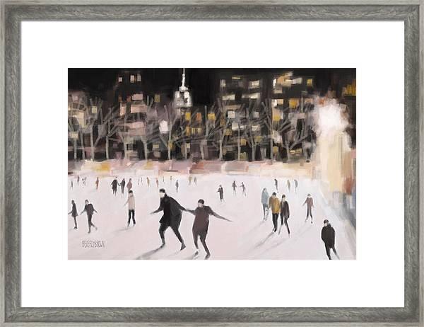 Bryant Park Ice Skaters New York At Night Framed Print