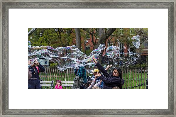 Bubble Attack Framed Print