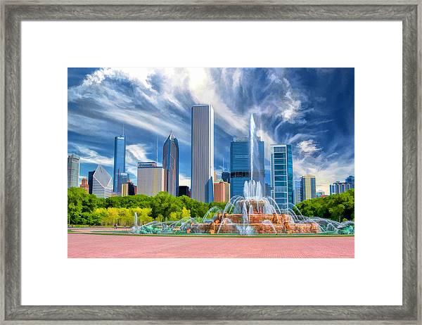Buckingham Fountain Chicago Skyscrapers Framed Print