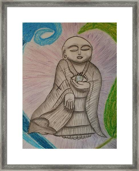 Buddha And The Eye Of The World Framed Print