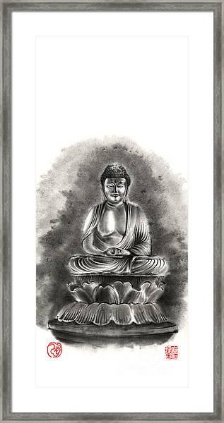 Buddha Buddhist Sumi-e Tibetan Calligraphy Original Ink Painting Artwork Framed Print
