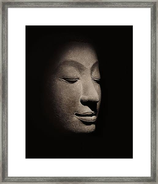 Buddha Head From The Early Ayutthaya Period Framed Print