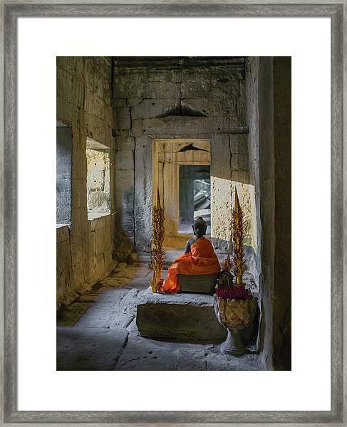 Buddhist Altar. Ta Prohm. Angkor Framed Print