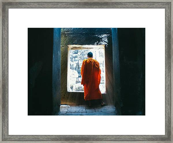 Buddhist Monk In Bayon Temple Angkor Wat Framed Print by Leander Nardin