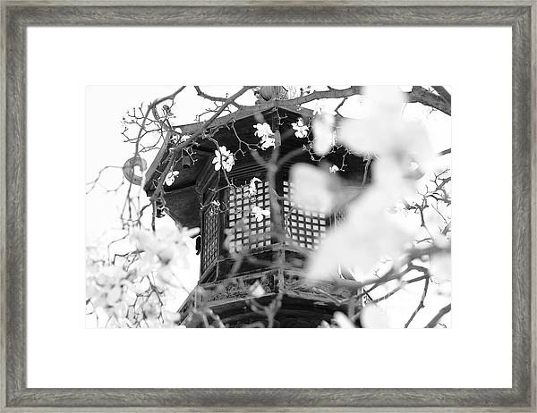Buddhist Temple In Black And White - Ornate Lamp Post Framed Print