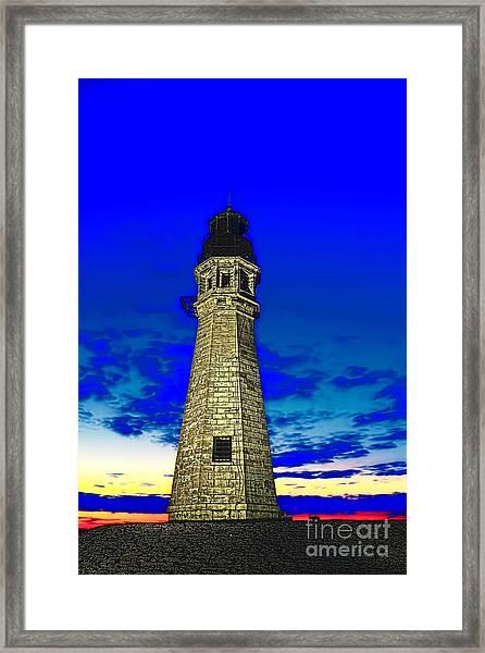 Buffalo Harbor Lighthouse At Sunset Framed Print
