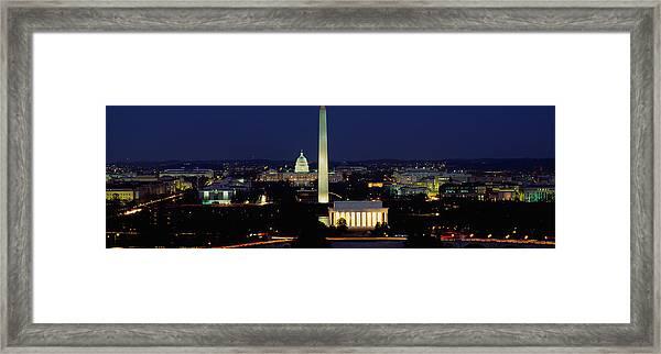 Buildings Lit Up At Night, Washington Framed Print