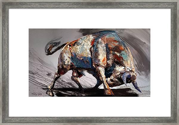 Bull Fight Back Framed Print