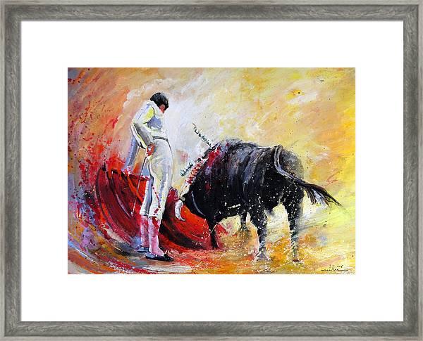 Bull In Yellow Light Framed Print