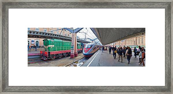 Bullet Train At A Railroad Station, St Framed Print