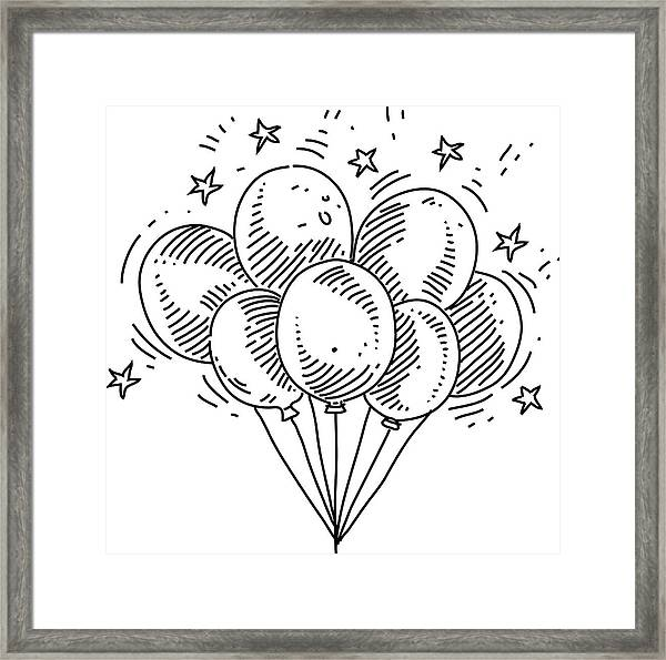 Bunch Of Balloons Drawing Framed Print by LEOcrafts