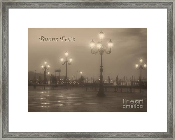 Buone Feste With Venice Lights Framed Print