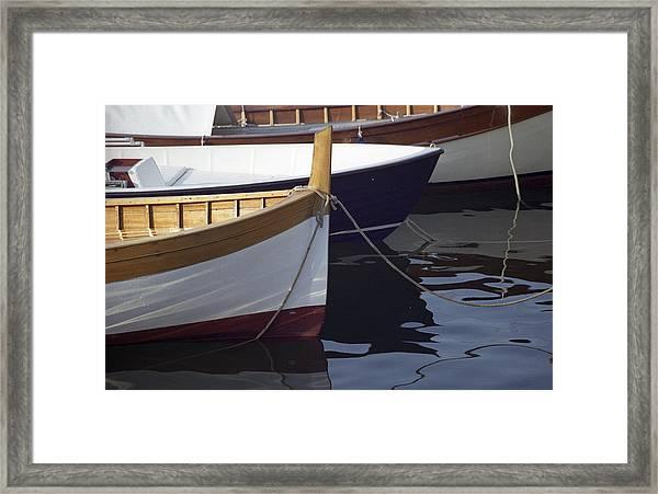 Burgundy Boat Framed Print