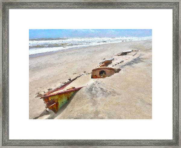 Buried Treasure - Shipwreck On The Outer Banks I Framed Print