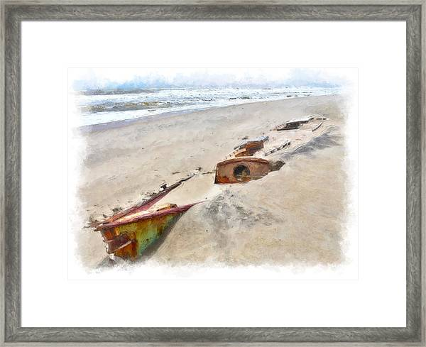 Buried Treasure - Shipwreck On The Outer Banks II Framed Print