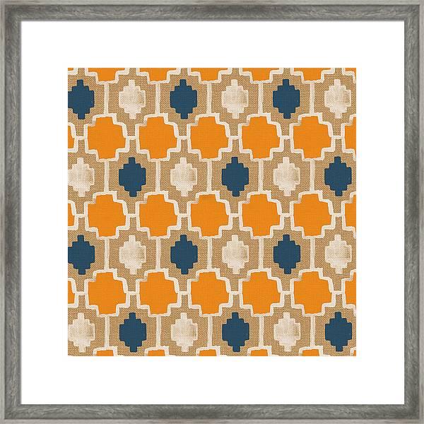 Burlap Blue And Orange Design Framed Print