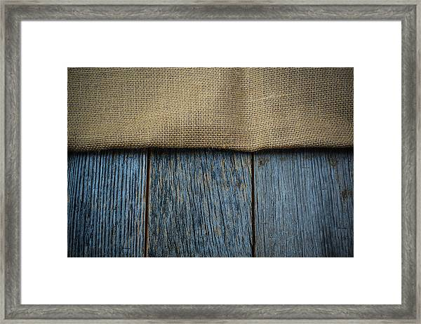 Burlap Texture On Wooden Table Background Framed Print