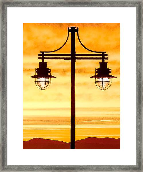 Burlington Dock Lights Framed Print