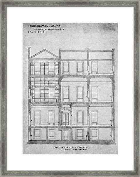 Burlington House Architectural Plans Framed Print by Royal Astronomical Society/science Photo Library