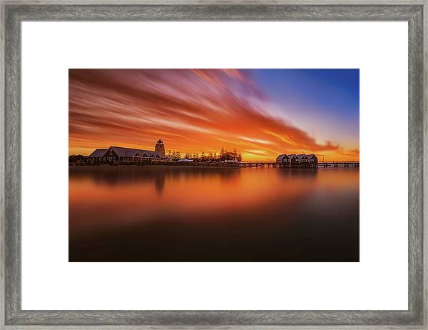 Burning Bridge Framed Print by Despird Zhang