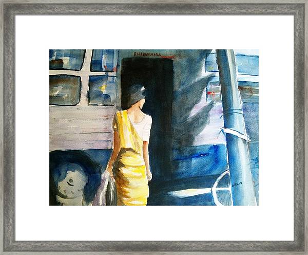 Bus Stop - Woman Boarding The Bus Framed Print