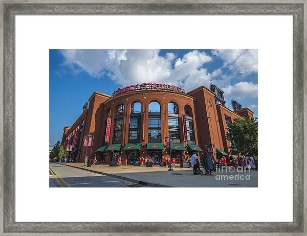 Busch Stadium Clouds Framed Print