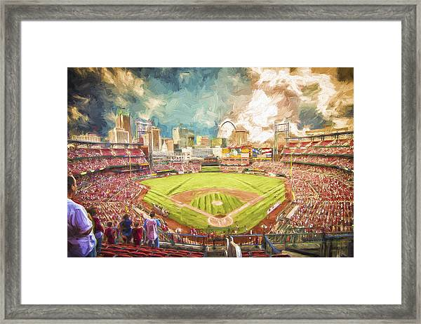 Busch Stadium St. Louis Cardinals Day Paint Framed Print