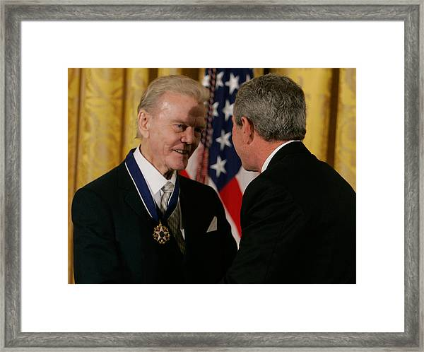 Bush Honors Presidential Medal Of Freedom Recipients Framed Print by Mark Wilson