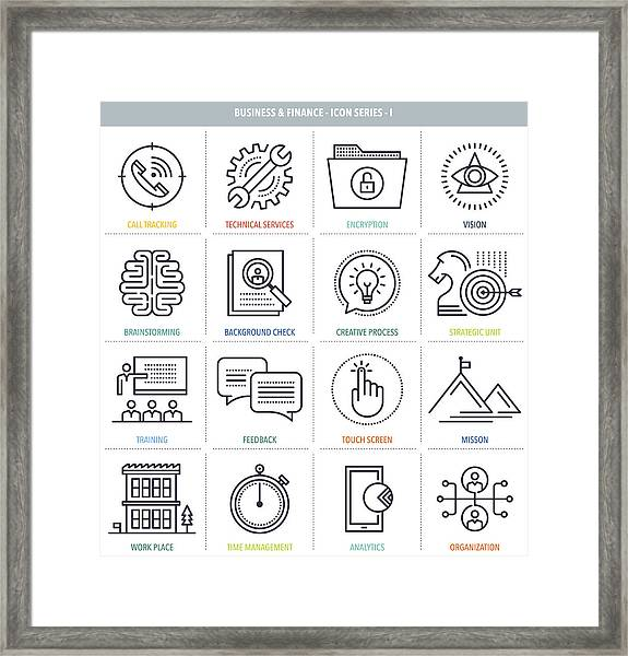Business And Finance Icon Set Framed Print by Ilyast