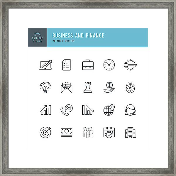 Business And Finance  - Thin Line Icon Set Framed Print by Fonikum