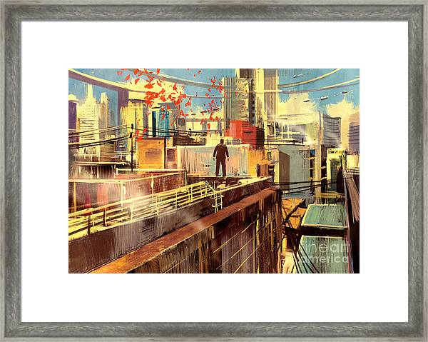 Business Man Standing On The Rooftop Of Framed Print
