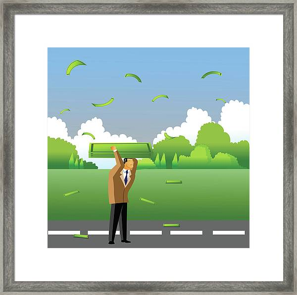 Businessman Carrying Money On His Head Framed Print