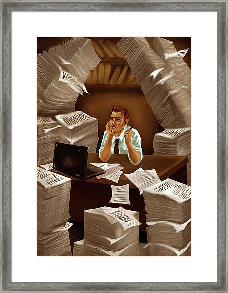 Businessman With Heap Of Papers Framed Print