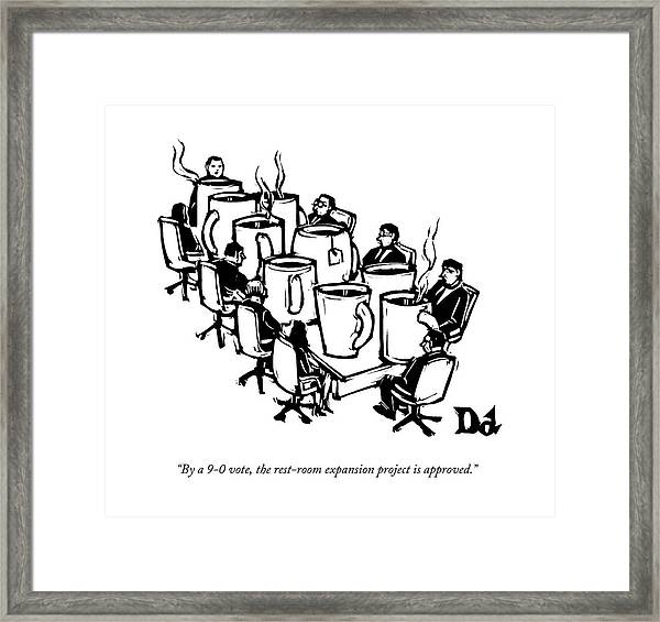 Businessmen Sit Around Conference Table Framed Print