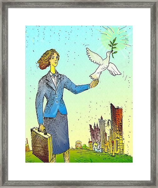 Businesswoman & Dove Framed Print by Vasily Kafanov
