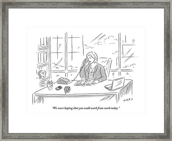 Businesswoman At Her Desk On The Telephone Framed Print