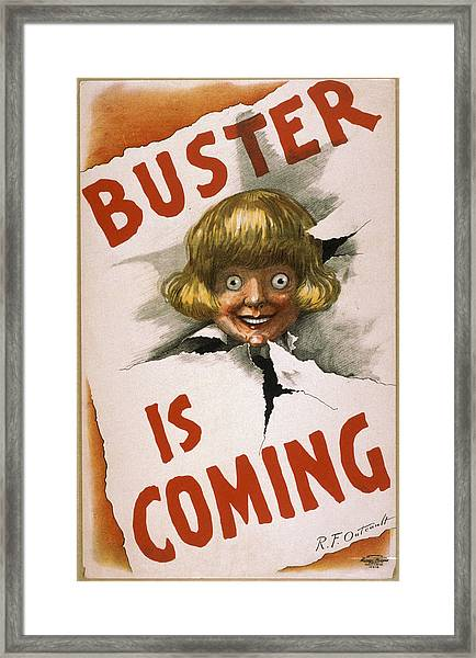 Buster Is Coming Framed Print