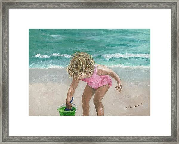 Busy Beach Girl Framed Print