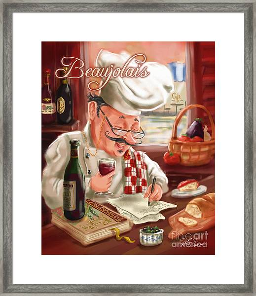 Busy Chef With Beaujolais Framed Print