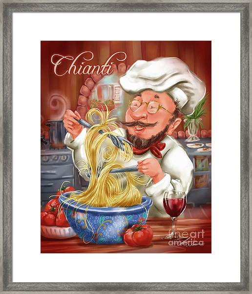Busy Chef With Chianti Framed Print